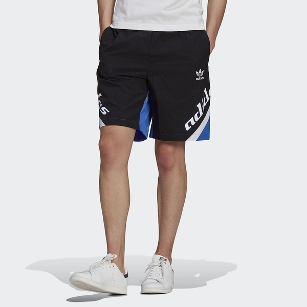 ADIDAS 短褲 ADICOLOR 黑藍 側邊英文 運動褲 男 (布魯克林) HA4739