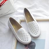 護士鞋女2010新款軟底坡跟透氣防臭白色鏤空舒適平底休閒夏牛筋底 快速出貨