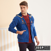 【JEEP】美式精緻圖騰連帽刷毛外套 (藍色)