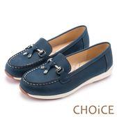 CHOiCE 減壓舒適款 質感牛皮手縫厚底平底鞋-藍色