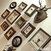 照片牆美式復古式實木相框掛墻 客廳 相片背景墻AQ