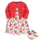 美國Luvable Friends 女寶寶 薄外套&短袖連身裙&鞋子 三件式套裝 紅草莓【LU55206】