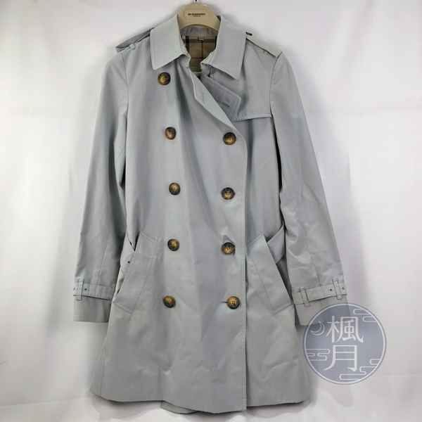 BRAND楓月 BURBERRY 淺藍色 內格紋 中長版 釦子 經典風衣 外套 女版 衣服 #UK8