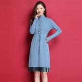 秋冬新款女裝中長款連身裙長袖半高領針織打底衫過膝修身毛衣裙子 韓國時尚週