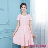 Red House 蕾赫斯-花瓣造型點點洋裝(粉色)