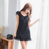 韓版浪漫黑色蕾絲柔緞面睡衣 性感內衣 居家服內睡衣《生活美學》