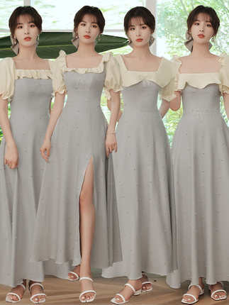 緞面伴娘服夏季2021新款簡約伴娘團姐妹服小眾晚禮服裙洋裝平時日常可穿女婚禮聚會表演約會服裝
