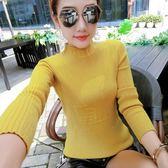 針織衫 1002# 長袖針織衫修身白色打底衫半高領加厚套頭毛衣