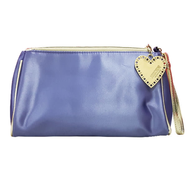 MOSCHINO 藍紫 愛心拉鍊 化妝包《Belle倍莉小舖》