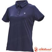 Wildland 荒野 0A71659-72深藍色 女彈性POLO抗UV條紋衣 吸濕/POLO衫/團體服/涼爽散熱/登山休閒