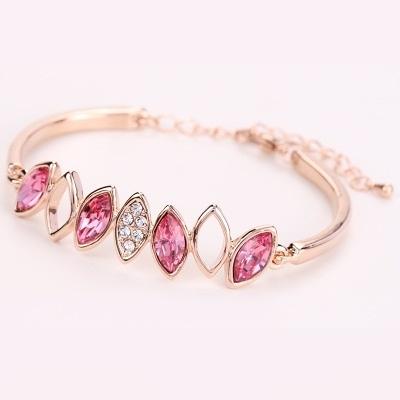 手環 玫瑰金純銀 水晶-鑲鑽設計生日情人節禮物女手鍊8色73ak196【時尚巴黎】