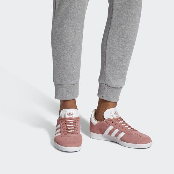 ISNEAKERS ADIDAS ORIGINALS GAZELLE W 胭脂粉 麂皮 燙金 休閒 女鞋 CQ2186