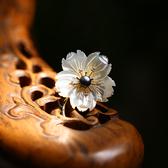古典優雅天然貝殼雕刻花朵珍珠胸針/設計家