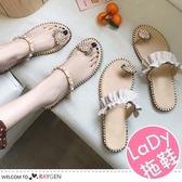 女孩夏日花邊珍珠鳳梨涼鞋 托鞋 平底鞋
