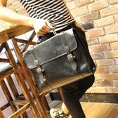 韓國復古箱型公事包休閒包單肩斜背包手提差包原創 可可鞋櫃
