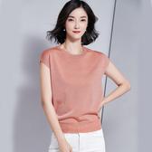 短袖針織衫-亮絲圓領時尚純色女T恤4色73xi25【巴黎精品】