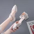包頭涼鞋女仙女風2021新款百搭中跟單鞋配裙子尖頭小跟鞋夏季粗跟 璐璐