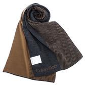 CalvinKlein CK新款雙色LOGO圍巾(深灰/咖啡色)103213-6