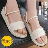 涼鞋-MIT氣質素面兩穿厚底涼拖鞋