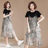 中大尺碼洋裝 韓版豹紋雪紡短袖吊帶連衣裙  XL-5XL #lg19368380 ❤卡樂❤