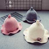 秋冬寶寶兒童毛線帽子新款8個月-3歲女童花邊盆帽男童保暖 【格林世家】