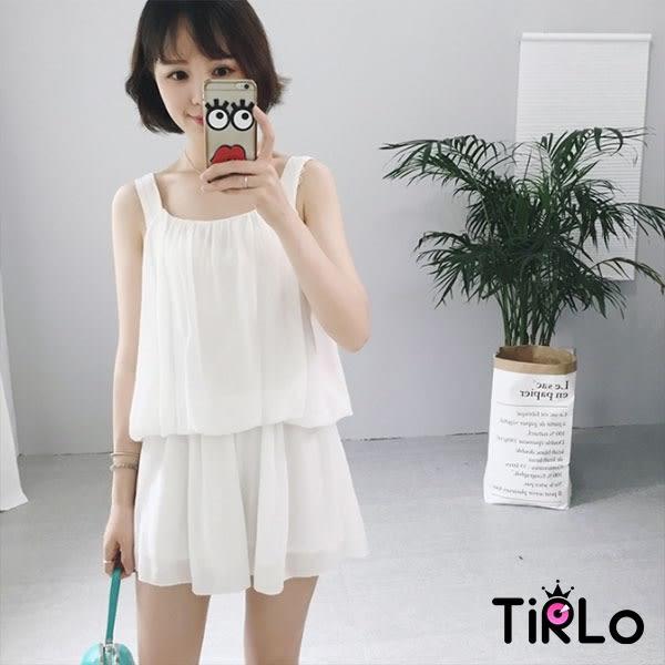 套裝-Tirlo-輕甜寬肩帶澎澎背心短褲兩件組-單一