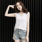 新款韓版修身顯瘦鏤空無袖背心雪紡蕾絲衫打底T恤上衣女 俏腳丫