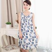 夏季中老年人睡衣女士棉綢夏天中年薄款大尺碼棉質連衣裙 LH1601【3C環球數位館】