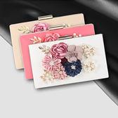 晚宴包-鏈條珍珠花朵方型硬盒女手拿包5色73rk14[時尚巴黎]