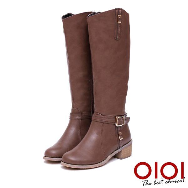 長靴 率性美型皮帶釦長筒跟靴(咖) *0101shoes【18-1705co】【現+預】