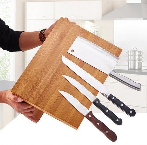 創意楠竹磁性廚房的刀架用品刀座小刀菜刀置物架潮流抗菌材質更健康時尚簡易獨特造型