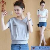 夏裝韓版棉麻白襯衫女顯瘦薄款T恤短袖女裝寬鬆上衣蝙蝠袖小衫潮 3C數位百貨