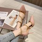 一字帶高跟鞋子年新款尖頭高跟鞋女韓版時尚百搭鉚釘細跟仙女風【全館免運】