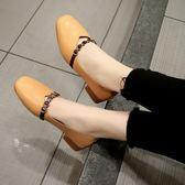 豆豆鞋 方頭單鞋女韓版百搭中粗跟淺口鞋仙女鞋子豆豆鞋瓢鞋 美斯特精品