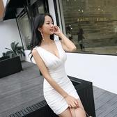 夜店洋裝 夜店性感洋裝 氣質夜場裝吊帶低胸緊身包臀顯瘦遮肚子夜總會女【快速出貨】