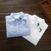 童裝純棉男童襯衫短袖春秋兒童白色襯衣寶寶上衣【奇趣小屋】
