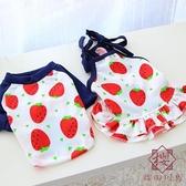 草莓情侶裝裙子薄款貓咪寵物小狗狗衣服幼犬【櫻田川島】