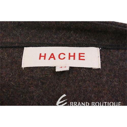 HACHE 咖啡色隱藏排釦毛料及膝裙 0550097-07