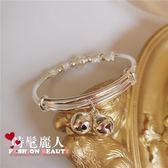 電鍍925純銀閃亮不褪色鈴鐺手鐲 學生可愛銀色手環手鏈 全店88折特惠