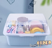 奶瓶收納架 奶瓶收納箱防塵瀝水架餐具輔食收納盒大號帶蓋用品【風鈴之家】