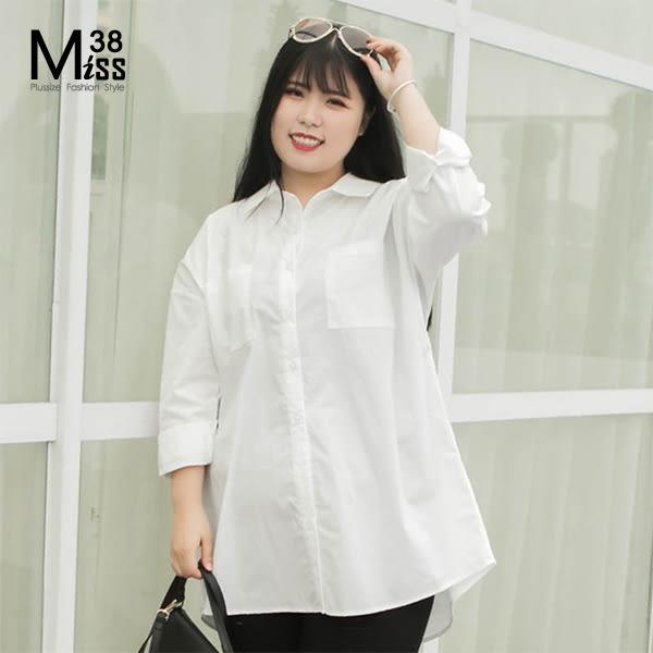 Miss38-(現貨)【A12238】大尺碼長袖襯衫 BF男友風 白色 中長版 寬鬆上衣 胸前口袋 -中大尺碼女裝