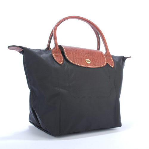 LONGCHAMP經典短提把小型尼龍摺疊水餃包(黑色-含帕巾)480100