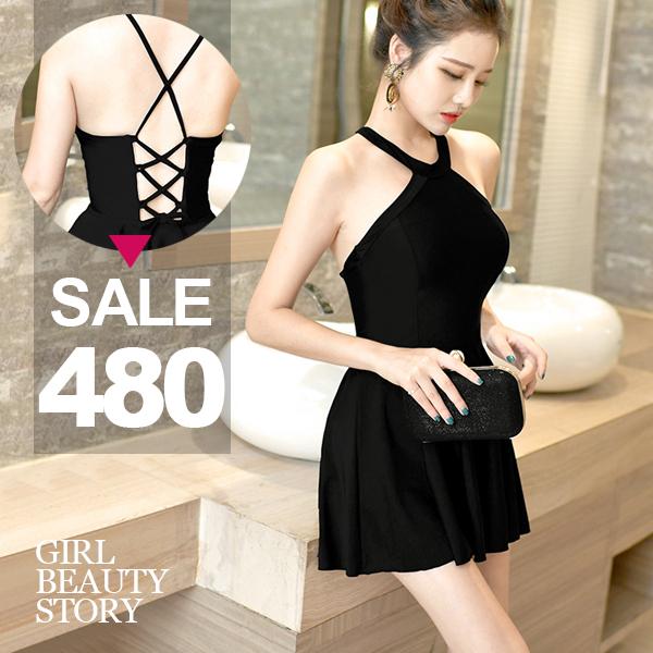 SISI【S7002】超顯瘦削肩露背馬甲綁帶美腰兩件式裙式連身裙溫泉沙灘裙傘襬泳衣