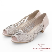 【CUMAR】童話奧地利 - 華麗優雅鏤空水鑽宴會魚口鞋(粉紅)
