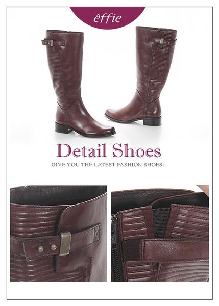 effie 魅力時尚 真皮立體壓紋低跟直筒長靴 咖啡