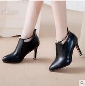 裸靴 秋冬新款高跟細跟韓版女鞋短靴水鉆馬丁靴百搭女靴子尖頭 - 歐美韓熱銷