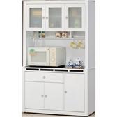 櫥櫃 餐櫃 CV-702-3 貝多美白色4尺碗櫥櫃 (全組)【大眾家居舘】