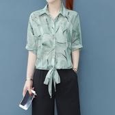 夏洋氣短袖雪紡衫女心機襯衫 2020新款很仙碎花上衣服顯瘦百搭小衫 JX2143【衣好月圓】