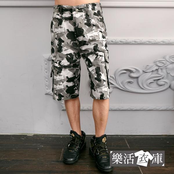 【7386】街頭潑畫迷彩休閒側袋工作短褲(灰白)● 樂活衣庫