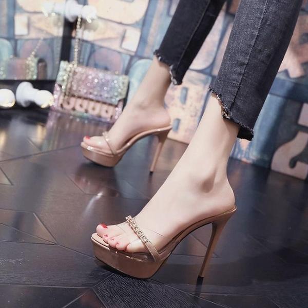 超高跟涼拖恨天高女夏拖鞋外穿時尚性感走秀12cm細跟防水台一字拖 格蘭小鋪